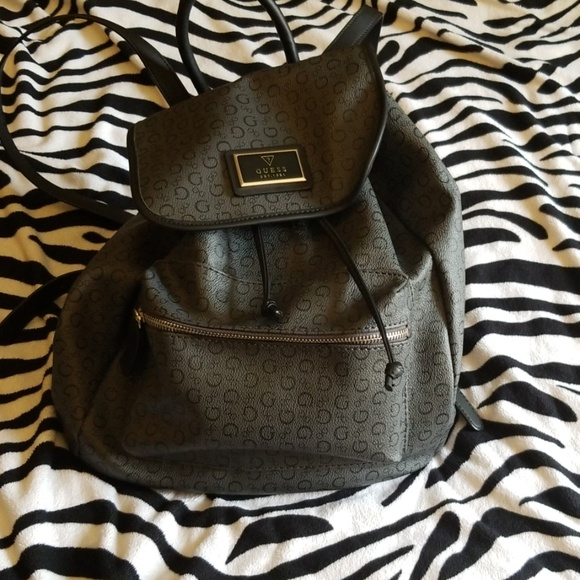 New Guess G Logo Signature Flap Draw String Backpack Book Bag Coal Black Full Size